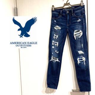 アメリカンイーグル(American Eagle)のアメリカンイーグル 美品 ジェギング ダメージデニム クラッシュデニム(デニム/ジーンズ)