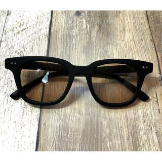 マットブラック/ライトブラウン ウェリントン サングラス ボストン 眼鏡