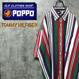 TOMMY HILFIGER - トミーヒルフィガー☆オールド刺繍ロゴ半袖コットンリネンマルチストライプシャツ