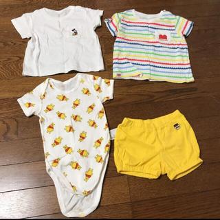 ユニクロ(UNIQLO)のユニクロ キッズTシャツ ロンパース ズボン 80 4点セット(Tシャツ)