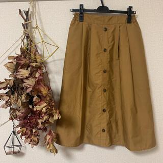 アースミュージックアンドエコロジー(earth music & ecology)のシンプルスカート Aラインスカート カジュアルスカート 茶色(ひざ丈スカート)