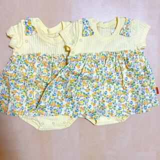 ムージョンジョン(mou jon jon)のロンパース 70 花柄 ムージョンジョン 黄色 夏服 半袖 2枚セット(ロンパース)