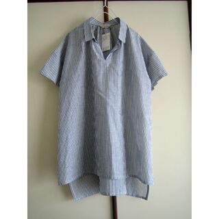 サマンサモスモス(SM2)のサマンサモスモス SM2 麻混スキッパーシャツ ストライプ(シャツ/ブラウス(半袖/袖なし))