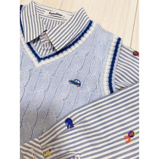 familiar - 美品 2点セット ファミリア ボタンシャツ ベスト ニット 動物 ボーダー