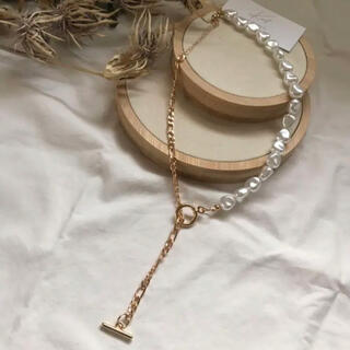 pearl chain necklace-gold-
