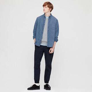 ユニクロ(UNIQLO)のデニムシャツ(ボタンダウンカラー・長袖)Lサイズ(シャツ)
