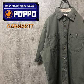 carhartt - カーハート☆ワンポイント刺繍ロゴ入りダブルポケット半袖ワークシャツ