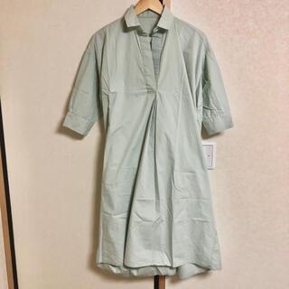 corners by lowy 半袖 ロングシャツ ワンピース M グリーン 緑(ロングワンピース/マキシワンピース)