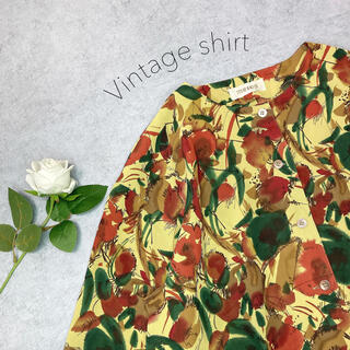 Lochie - 美品 年代物 一点もの 希少 古着 ヴィンテージ レトロ 総柄シャツ 水彩 長袖