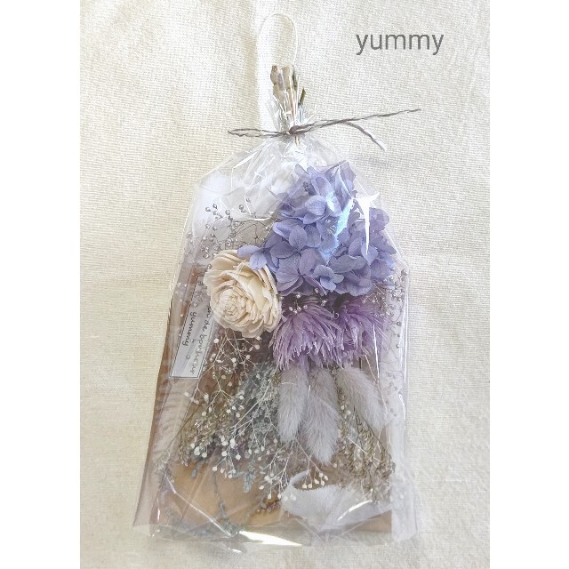 ajisai mini swag(gray/lavender) ハンドメイドのフラワー/ガーデン(ドライフラワー)の商品写真
