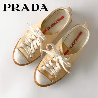 PRADA - PRADAプラダ スニーカー 36 ローカット レザー ベージュ レディース