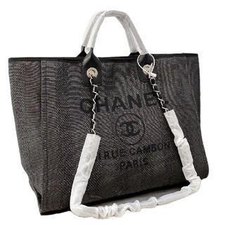 シャネル(CHANEL)のChanel黒刺繍ビーチバッグ#G 02(トイレ収納)