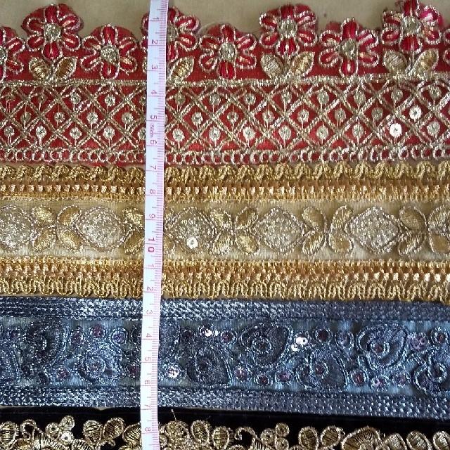 インドの刺繍リボン  20cm×5種類③ ハンドメイドの素材/材料(各種パーツ)の商品写真