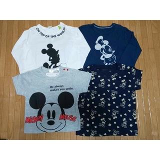 ユニクロ(UNIQLO)のディズニー ミッキーマウス 半袖&長袖Tシャツ 80cm 4枚セット まとめ売り(Tシャツ)