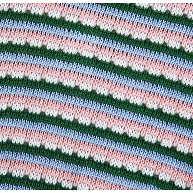 アンバランス 配色 ボーダー ポロニット レディースのトップス(ニット/セーター)の商品写真