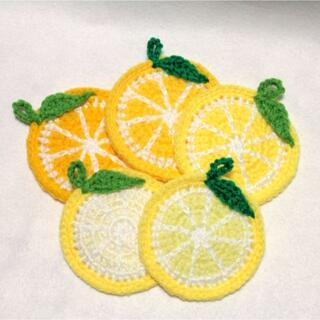 輪切りレモンのエコたわし&コースター 5枚セット