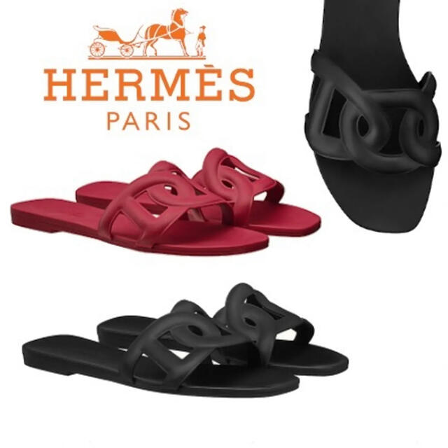 Hermes(エルメス)の新品未使用 エルメス アロハ  ラバー サンダル 黒 38 レディースの靴/シューズ(サンダル)の商品写真