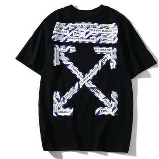 テープ メンズ レディース Tシャツ オーバーサイズ 黒 ペアルックオフホワイト(Tシャツ/カットソー(半袖/袖なし))