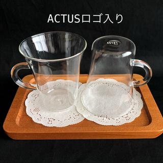 ACTUS - ACTUS ロゴ入り ペア ガラス コーヒーカップ ガラスカップ グラス
