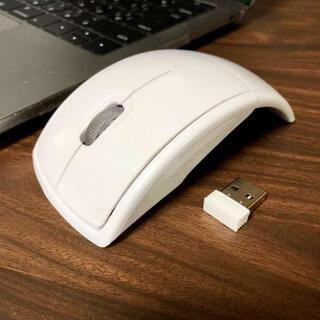 ☆折りたたみ式☆ ワイヤレス マウス 光学無線式 ホワイト(PC周辺機器)