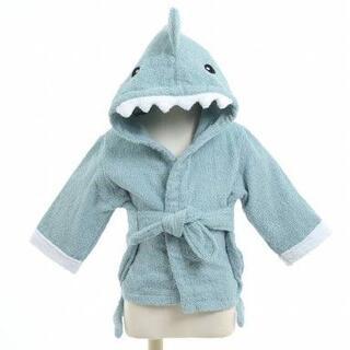 フード付き ベビーバスローブ シャーク(鮫)【ブルー】乳児・幼児用(バスローブ)