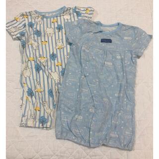 ニシマツヤ(西松屋)の西松屋 半袖2wayオール 2枚セット(50〜60cm)(カバーオール)