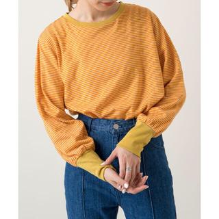 カスタネ(Kastane)のスラブリンガーボーダーロンTee⭐︎⭐︎ オレンジ(Tシャツ(長袖/七分))