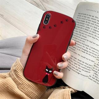 iphoneXR iphoneケース 赤色 猫 ケース カバー スマホ