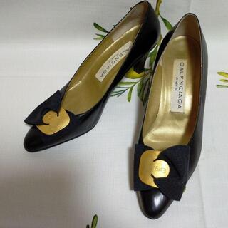 バレンシアガ(Balenciaga)のバレンシアガ コーンヒール BALENCIAGA 黒 リボンパンプス 未使用品(ハイヒール/パンプス)