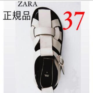 ZARA - 正規品 ZARA ザラ レザーフラットサンダル フラットケージサンダル 37