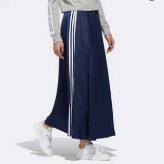 アディダス(adidas)の6/20処分adidasサテンロングスカートネイビー(ロングスカート)