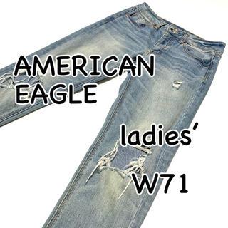 アメリカンイーグル(American Eagle)のAMERICAN EAGLE TOMGIRL クラッシュ加工 US0 ストレッチ(デニム/ジーンズ)
