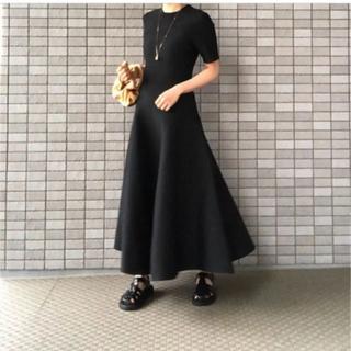 MADISONBLUE - マディソンブルー FLARE LONG KNIT DRESS ブラック
