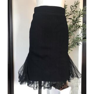 ディーホリック(dholic)の裾チュールスカート ニットタイトスカート(ひざ丈スカート)