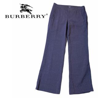 バーバリー(BURBERRY)の【美品】BURBERRY バーバリー 麻素材 パンツ ネイビー(カジュアルパンツ)