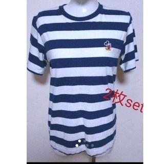ディズニー(Disney)のワンコイン まとめ売り ミッキー コラボTシャツ 2枚 ボーダー(Tシャツ(半袖/袖なし))