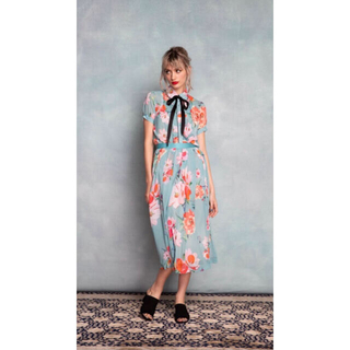 DOUBLE STANDARD CLOTHING - DOUBLESTANDARD  Sov. ポリエステルシフォン 花柄スカート