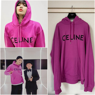 celine - Lisa 登坂 CELINE セリーヌ モノクロームロゴ パーカー ピンク XL