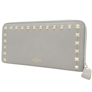 ヴァレンティノ(VALENTINO)のヴァレンティノ 長財布 ロックスタッズ カーフ グレー灰 40800075571(財布)
