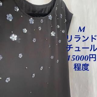 リランドチュール(Rirandture)のM 15000円程度 リランドチュール 花ビジューたくさん黒トップス 美品(カットソー(半袖/袖なし))