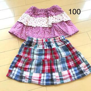 ニシマツヤ(西松屋)の美品☆西松屋 スカート 2枚セット 100(スカート)