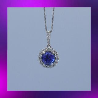 天然タンザナイト ダイヤモンド 取り巻き Pt950 プラチナ ペンダント (ネックレス)