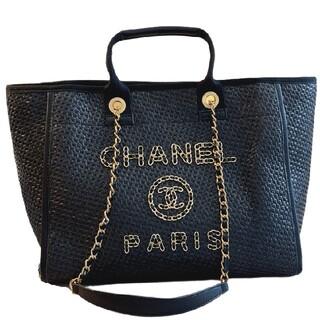 シャネル(CHANEL)のChanel黒編みショッピングバッグ#K 01(トイレ収納)