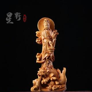 木彫仏像  実木彫刻 観音菩薩 精密彫刻 仏師で仕上げ品(彫刻/オブジェ)