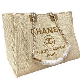 シャネル(CHANEL)のChanel米白い刺繍ビーチバッグ#G 01(トイレ収納)
