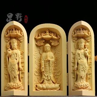 極上品 彫刻工芸品 置物  東方三聖  仏陀彫刻(彫刻/オブジェ)