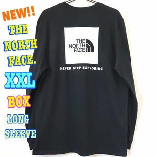 ザノースフェイス(THE NORTH FACE)の結構ビッグサイズ  新品 ノースフェイス BOX ロンT 黒 白 XXL 3L(Tシャツ/カットソー(七分/長袖))