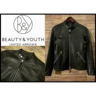 BEAUTY&YOUTH UNITED ARROWS - 美品 ビューティーアンドユース レザー シングル ライダース ジャケット 黒 S
