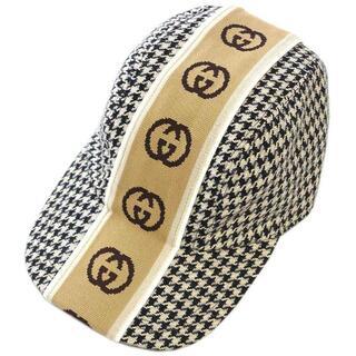 Gucci - 美品 グッチ 帽子 ベースボールキャップ S ブラックxベージュ J3716