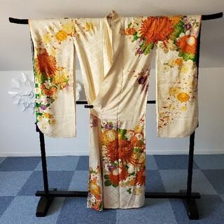 ホワイト地に金駒刺繍花いっぱい オレンジ黄色系 振袖 正絹 袷 豪華 大奥(振袖)
